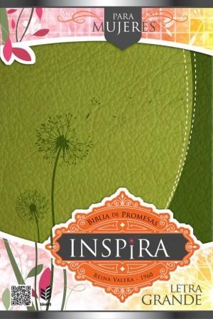 Biblia de promesas Inspira. Letra grande. 2 tonos. Verde - RVR60