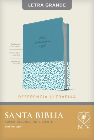 Biblia de referencia ultrafina. Letra grande. 2 tonos. Azul floral - NTV