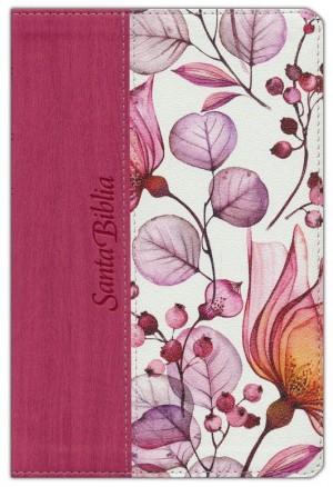 Biblia manual. Letra grande. 2 tonos. Rosa floral - NTV