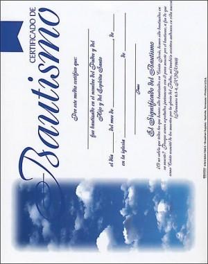 Certificado a todo color - Bautismo