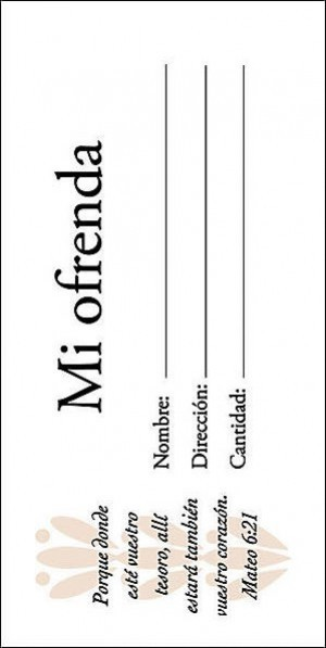 Sobre - Mi ofrenda. Tamaño billete (pack de 100)