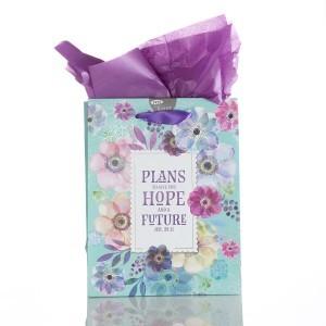 Bolsa de regalo Jeremías 29:11. Papel floral