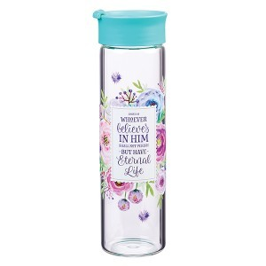 Botella Juan 3:16. Cristal. Turquesa floral (inglés)