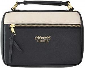 Funda para Biblia Amazing Grace. 2 tonos. Negro/beige - XL