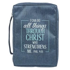 Funda para Biblia Filipenses 4:13. Lona. Azul - L
