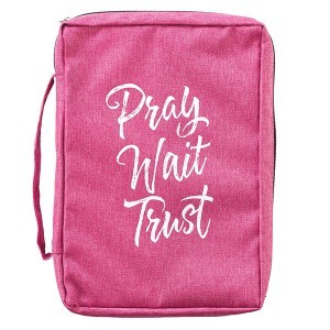 Funda para Biblia Pray, wait, trust. Lona. Rosa - L