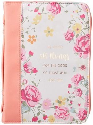 Funda para Biblia Romanos 8:28. 2 tonos. Coral floral - L