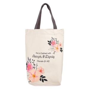 Bolsa Proverbios 31:25. Lona. Beige floral