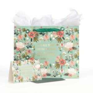 Bolsa de regalo 1 Corintios 16:14. Papel floral (3 en 1)