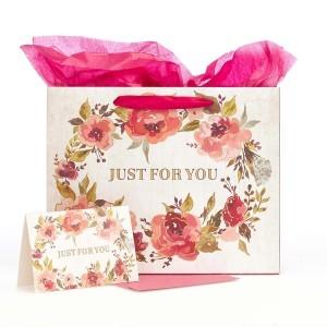Bolsa de regalo Just for you. Papel floral (3 en 1)