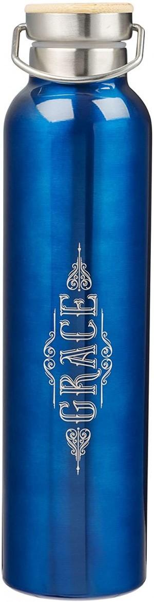 Botella térmica Grace (Efesios 2:8). Acero inoxidable. Azul cobalto (inglés)