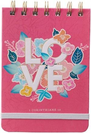 Libreta 1 Corintios 13. Tapa dura. Rosa floral. Espiral (inglés)