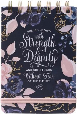 Libreta Proverbios 31:25. Tapa dura. Azul floral. Espiral (inglés)