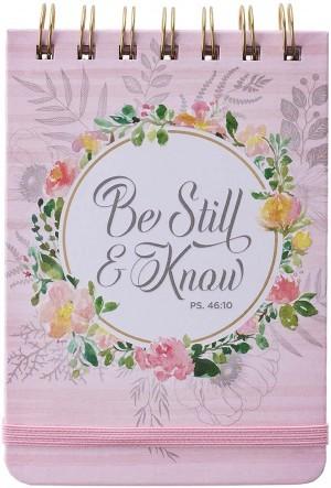 Libreta Salmo 46:10. Tapa dura. Rosa floral. Espiral (inglés)