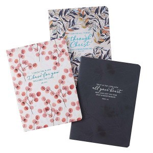Cuaderno Filipenses 4:13. Rústica. Azul floral (pack de 3) (inglés)