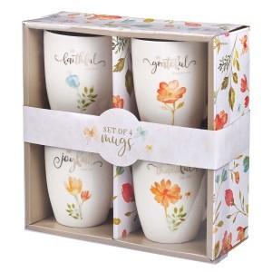Juego de tazas Grateful floral (pack de 4)