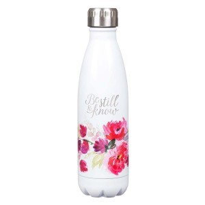Botella térmica Be still & Know. Acero inoxidable. Blanco floral