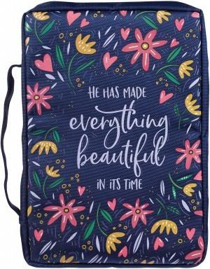 Funda para Biblia Everything beautiful. Lona. Azul floral - XL (inglés)