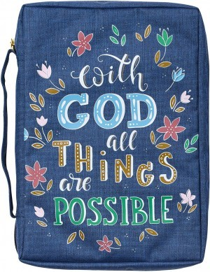 Funda para Biblia With God all things are possible. Lona. Azul floral - L (inglés)
