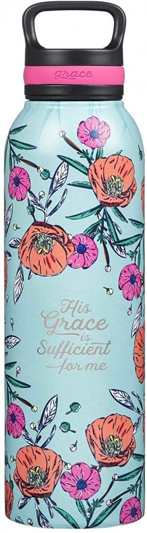 Botella térmica His Grace is sufficient for me. Acero inoxidable. Turquesa floral (inglés)