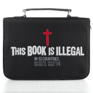 Funda para Biblia This book is llegal. Microfibra. Negro - L