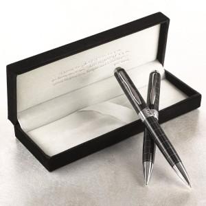 Juego bolígrafo y portaminas clásicos Jeremías 29:11. Negro y plata