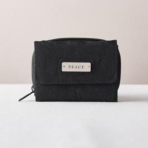 Monedero y billetera Peace. Microfibra. Negro