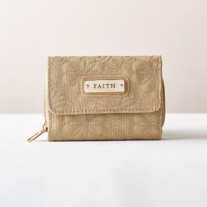 Monedero y billetera Faith. Microfibra. Caqui