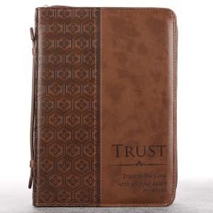 Funda para Biblia Proverbios 3:5. Imitación piel. Marrón - L