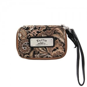 Monedero, billetera y portamóvil Faith. Microfibra. Estampado marrón