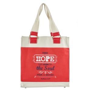 Bolso Hebreos 6:19. Lona. Rojo y blanco