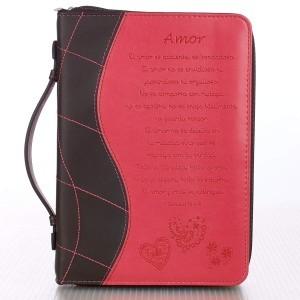 Funda para Biblia 1 Corintios 13:4-8. 2 tonos. Rosa/marrón - L