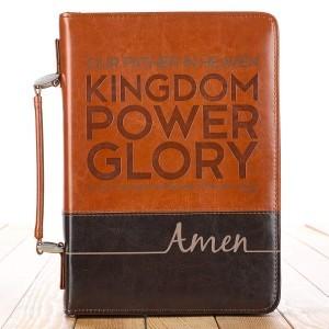 Funda para Biblia The Lords Prayer. 2 tonos. Marrón - L