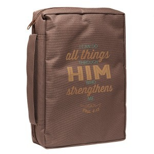 Funda para Biblia Filipenses 4:13. Lona. Marrón - XL