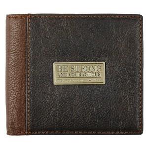 Monedero y billetera Deuteronomio 31:6. Piel genuína. Marrón