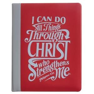 Álbum de fotos Filipenses 4:13. Plástico. Rojo y gris