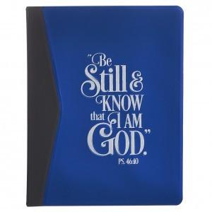 Álbum de fotos Salmo 46:10. Plástico. Azul y negro