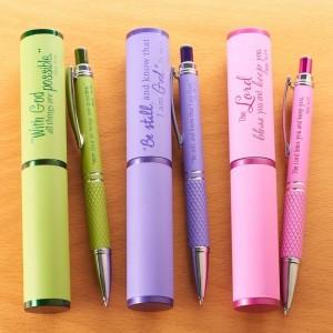 Bolígrafo con versículo y estuche. 3 modelos (inglés)