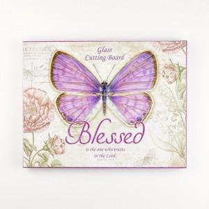 Bandeja de cristal templado Jeremías 17:7. Mariposa