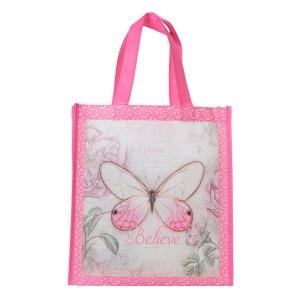 Bolsa Believe. Polipropileno. Mariposa rosa