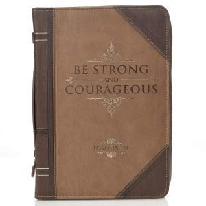 Funda para Biblia Josué 1:9. 2 tonos. Marrón - L