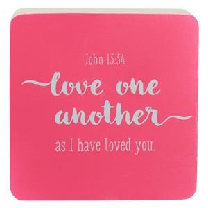 Bloque decorativo de madera Juan 13:34