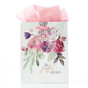 Bolsa de regalo 1 Tesalonicenses 5:16. Papel floral
