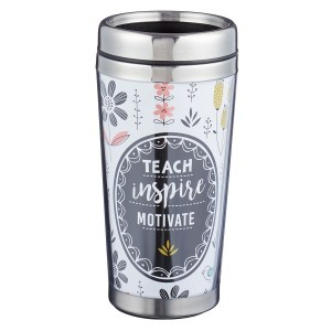 Botella térmica Teach, inspire, motivate. Polímero/acero inoxidable. Flores