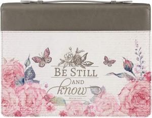 Funda para Biblia Salmo 46:10. 2 tonos. Gris floral - XXL (inglés)
