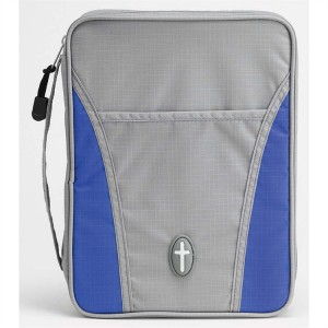 Funda para Biblia Cruz. Nylon. Gris/azul - S