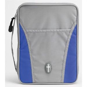 Funda para Biblia Cruz. Nylon. Gris/azul - L