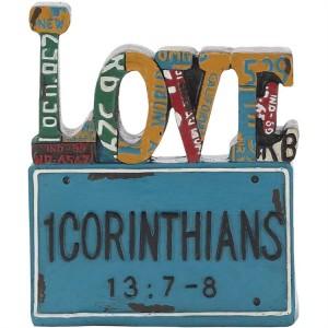 Adorno Love (1 Corintios 13:7-8). Resina