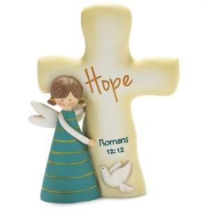 Ángel y cruz Hope (Romanos 12:12). Resina