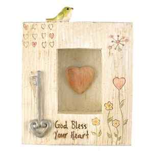Placa God bless your heart. Resina